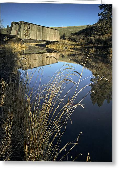 Covered Bridges Greeting Cards - Whitman County Bridge Greeting Card by Latah Trail Foundation