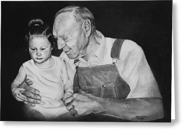 Overalls Drawings Greeting Cards - Whitney and Great Grandpa Greeting Card by Karen Barton
