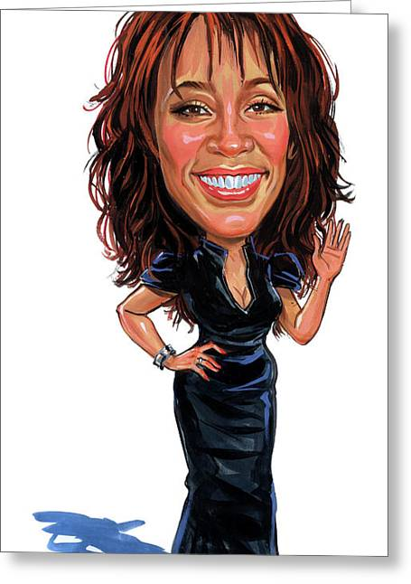 Famous Person Greeting Cards - Whitney Houston Greeting Card by Art