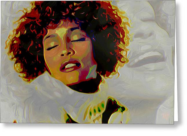 Modern Digital Art Digital Art Greeting Cards - Whitney Houston Greeting Card by  Fli Art