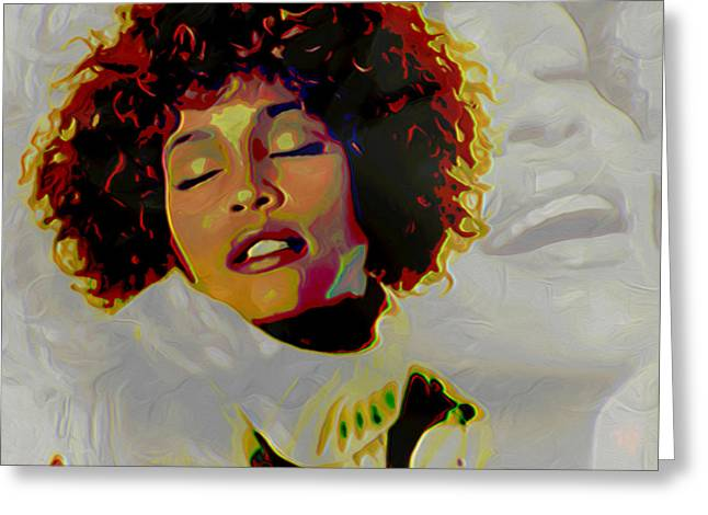Original Digital Art Greeting Cards - Whitney Houston Greeting Card by  Fli Art