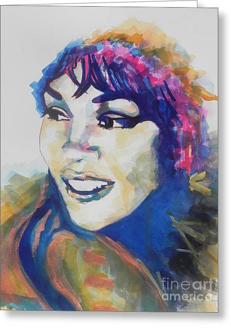 Famous Artist Greeting Cards - Whitney Houston Greeting Card by Chrisann Ellis
