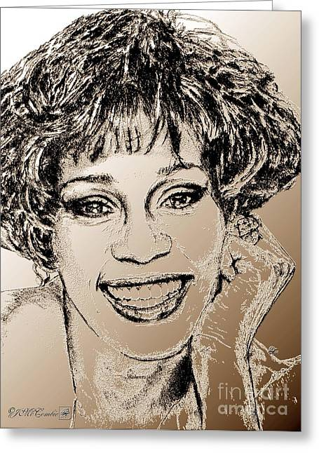 Award Mixed Media Greeting Cards - Whitney Houston in 1992 Greeting Card by J McCombie