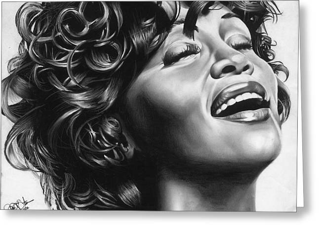 African-american Drawings Greeting Cards - Whitney Houston Greeting Card by Jeff Stroman