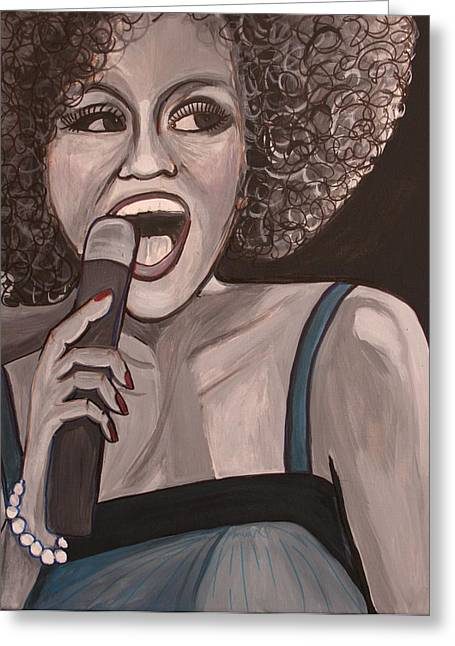 Whitney Houston Greeting Card by Kate Fortin
