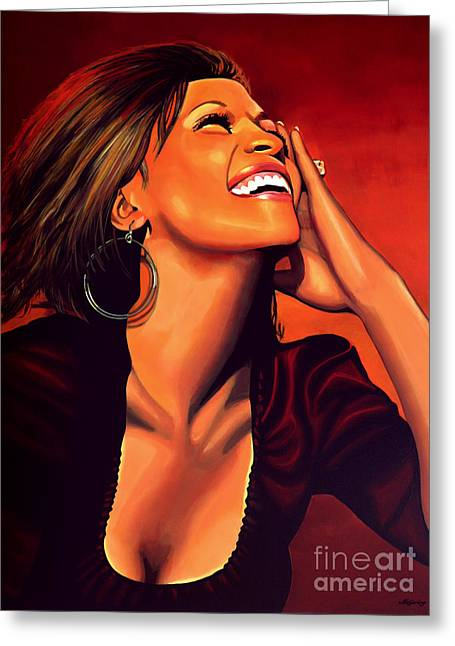 Whitney Houston Greeting Card by Paul Meijering