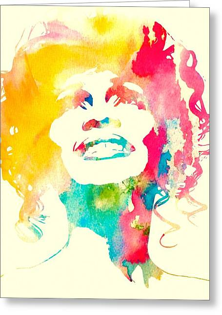 Whitney Houston Greeting Cards - Whitney Houston Watercolor Canvas Greeting Card by Dan Sproul