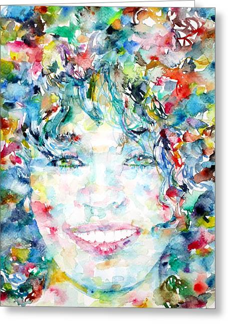 Whitney Houston Greeting Cards - WHITNEY HOUSTON - watercolor portrait Greeting Card by Fabrizio Cassetta