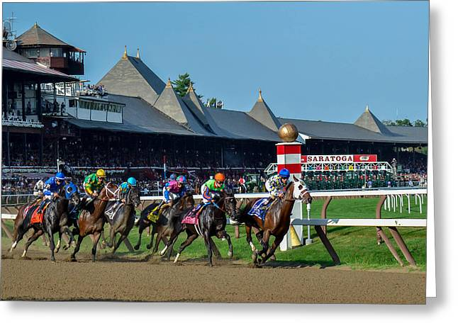 Take Charge Greeting Cards - Whitney Stakes 2014 Greeting Card by William Stephen
