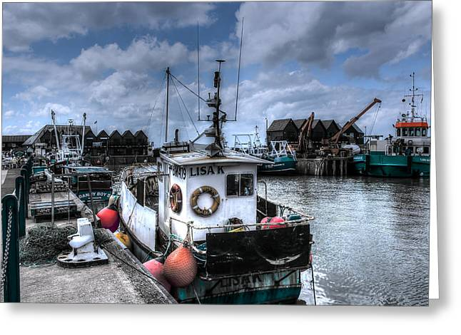 Fishing Trawler Greeting Cards - Whitstable harbour Greeting Card by Ian Hufton