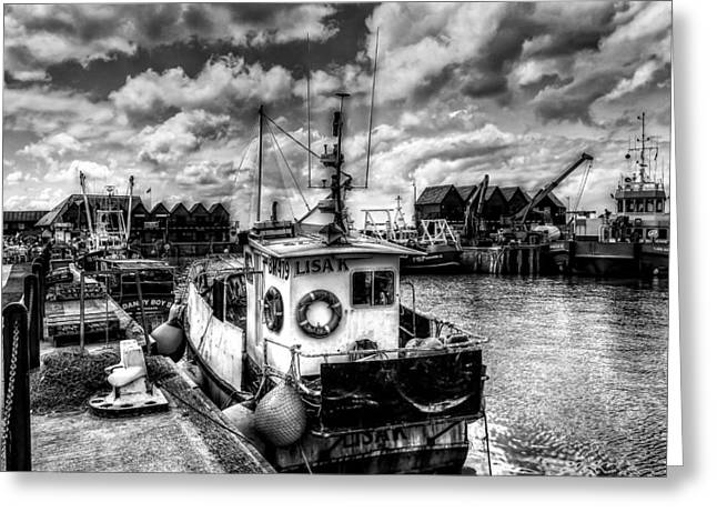 Fishing Trawler Greeting Cards - Whitstable harbour mono Greeting Card by Ian Hufton