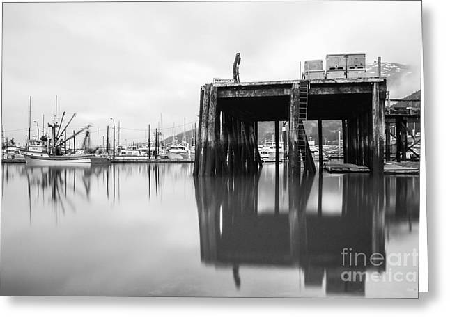 Landscape Framed Prints Greeting Cards - Whittier Alaska Pier in Black and White Greeting Card by Jennifer White