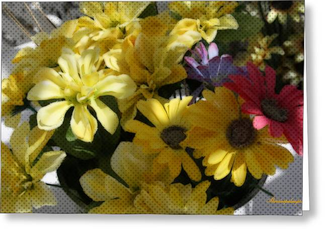 Digital Art Greeting Cards - Whittle Yellow Basket Of Flowers Greeting Card by Sherri  Of Palm Springs