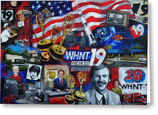 Camera Paintings Greeting Cards - WHNT 50 Years Greeting Card by Carole Foret