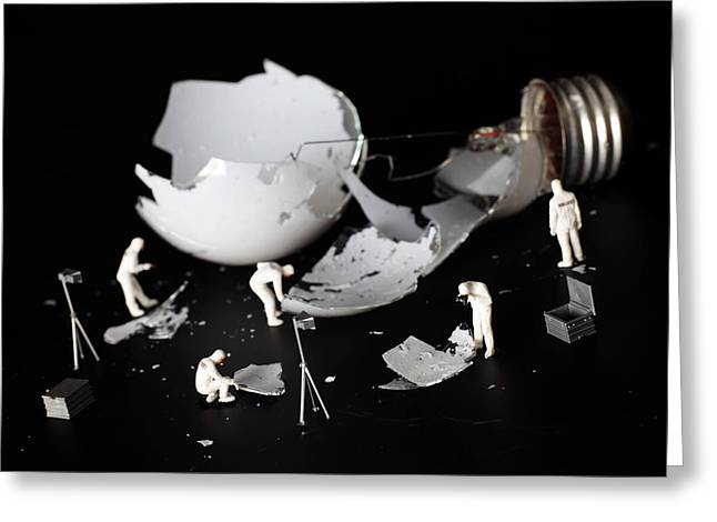 Sine Greeting Cards - Who broke the light bulb little people big worlds Greeting Card by Paul Ge