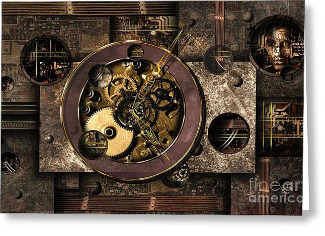 Clock Mixed Media Greeting Cards - Who Controls You? Greeting Card by Franziskus Pfleghart