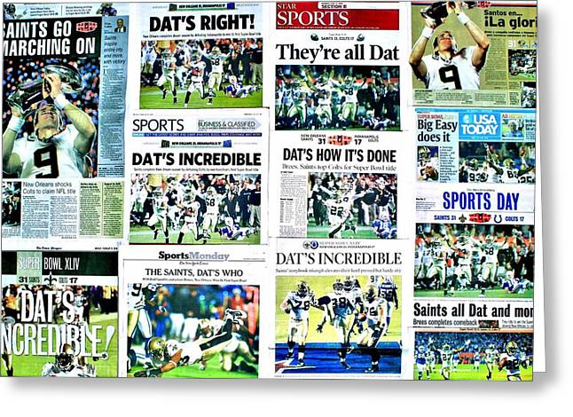 Headline Greeting Cards - Who Dat Headlines Greeting Card by Benjamin Yeager