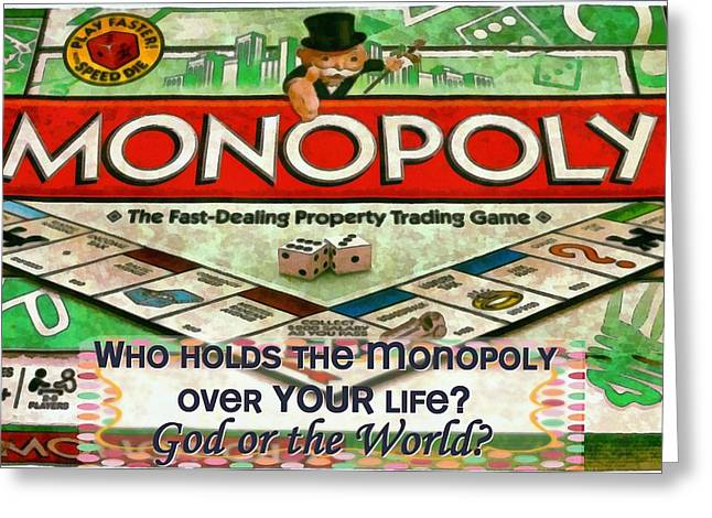 Monopoly Greeting Cards - Who Holds The Monopoly Greeting Card by Michelle Greene Wheeler