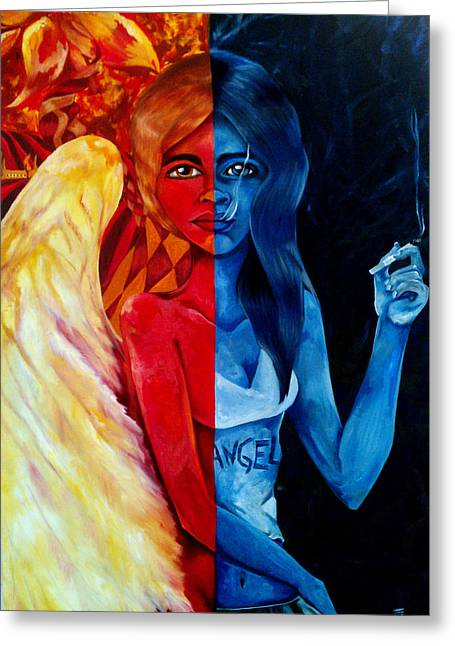 Angels Smoking Greeting Cards - Who is the Angel Greeting Card by Victoria Dietz