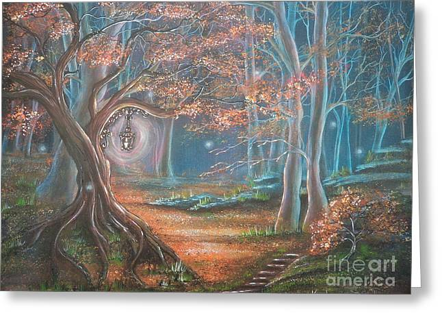 Forest Floor Paintings Greeting Cards - Who Lit The Candle? Greeting Card by Krystyna Spink