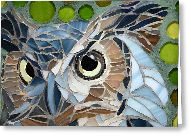 Owls Glass Greeting Cards - Who Recycled Greeting Card by Linda Pieroth Smith