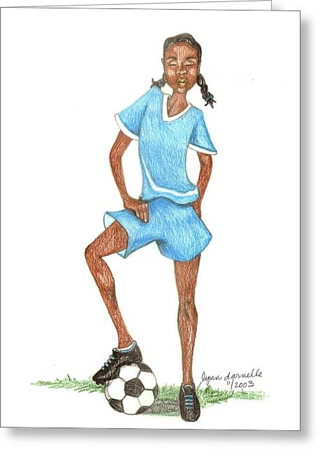 African-american Drawings Greeting Cards - Who Says Black Girls Dont Play Soccer Greeting Card by Lynn Darnelle