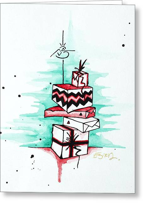 Morphed Mixed Media Greeting Cards - Who Shook the Box Greeting Card by Emily Pinnell