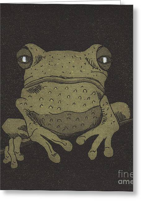 Tree Frog Reliefs Greeting Cards - Who you lookin at ? Greeting Card by Suzette Broad