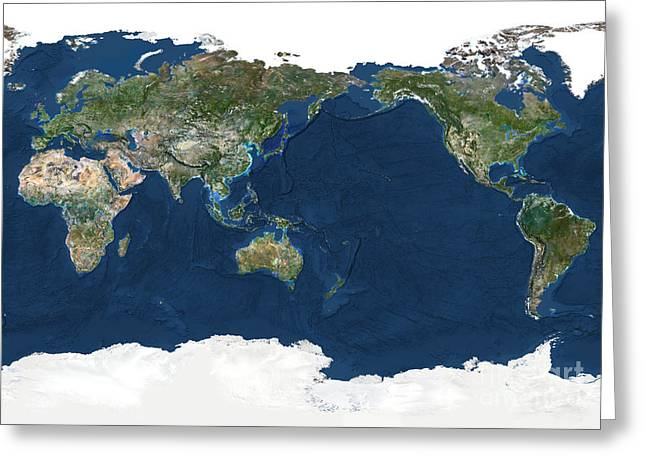 Planet Earth Greeting Cards - Whole Earth, Pacific Ocean Greeting Card by Planet Observer