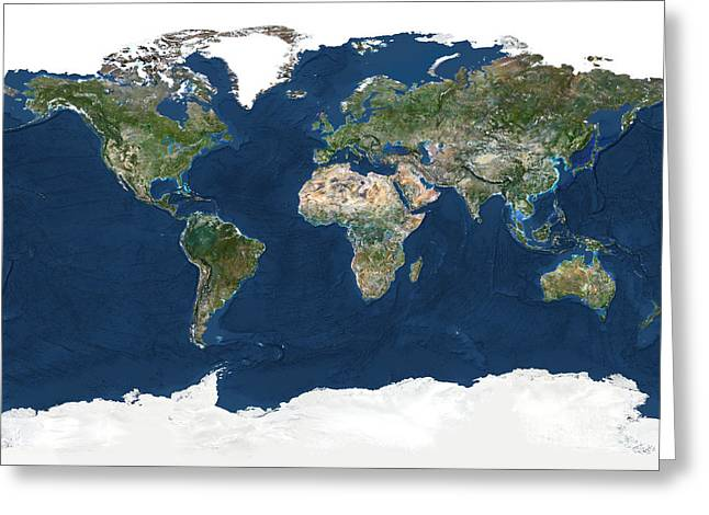 Planet Earth Greeting Cards - Whole Earth With Bump Effect Greeting Card by Planet Observer