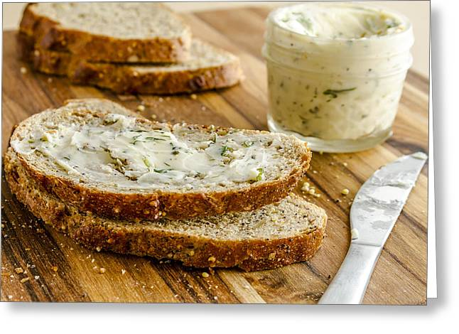 Loaf Of Bread Greeting Cards - Whole Grain Bread and Herb Butter Greeting Card by Teri Virbickis