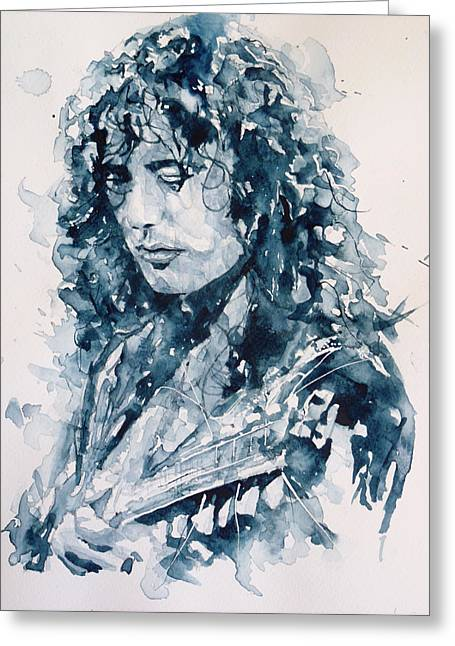 Best Sellers -  - British Portraits Greeting Cards - Whole Lotta Love Jimmy Page Greeting Card by Paul Lovering