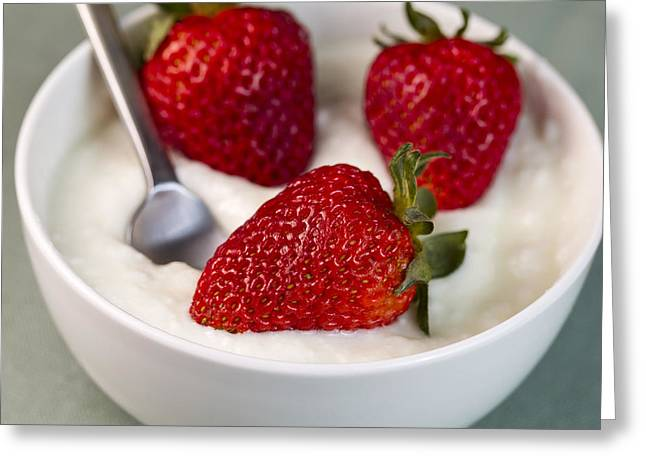White Cloth Greeting Cards - Whole Strawberries in Vanilla yogurt with Spoon in bowl  Greeting Card by Tom Baker