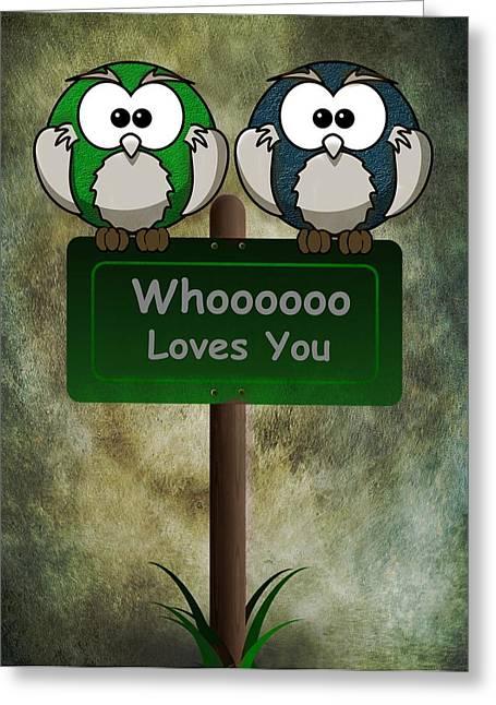 Husband Digital Art Greeting Cards - Whoooo Loves You  Greeting Card by David Dehner