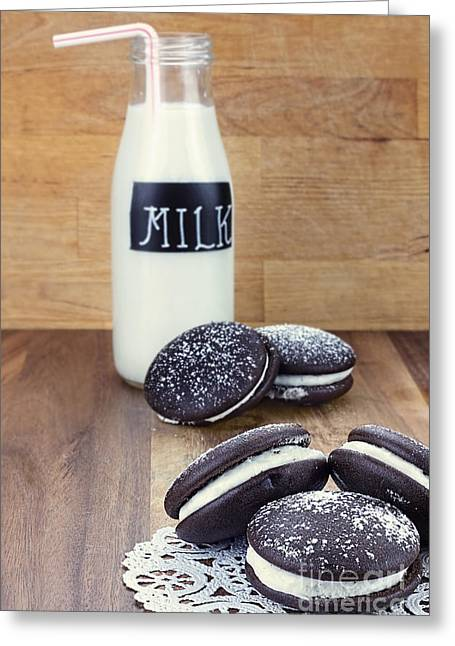 Sandwich Cookie Greeting Cards - Whoopie Pies or Moon Pies and Milk Greeting Card by Stephanie Frey
