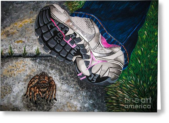 Sneaker Mixed Media Greeting Cards - Whoops Greeting Card by Dawn Siegler