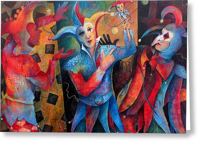 Jesters Greeting Cards - Whos The Fool. Greeting Card by Susanne Clark