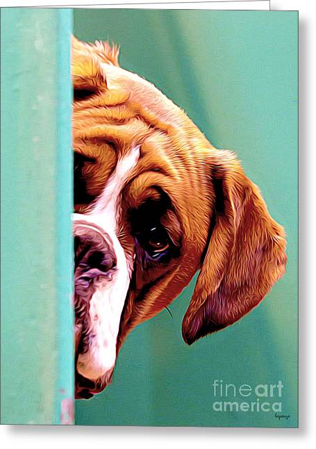 Puppy Digital Art Greeting Cards - Whos There Greeting Card by Larry Espinoza