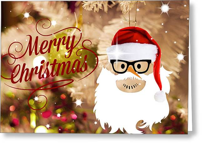 White Beard Mixed Media Greeting Cards - Whos Your Santa? Greeting Card by Living Waters Photography