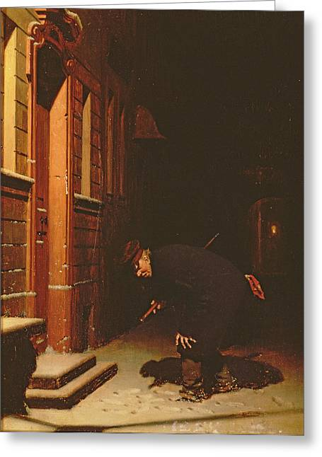 Watchman Greeting Cards - Whose Traces In The Snow? Greeting Card by Carl Kronberger