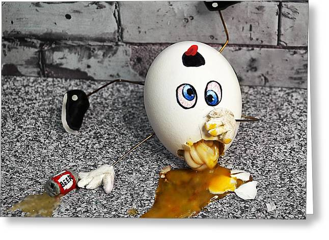 Humpty Dumpty Greeting Cards - Why Humpty Fell Greeting Card by Rick Mosher