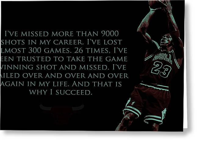 Chicago Bulls Mixed Media Greeting Cards - Why I Succeed Greeting Card by Brian Reaves