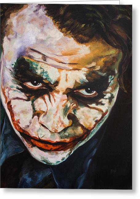 Portraitist Greeting Cards - Why So Serious  Greeting Card by Anthony  Baxton