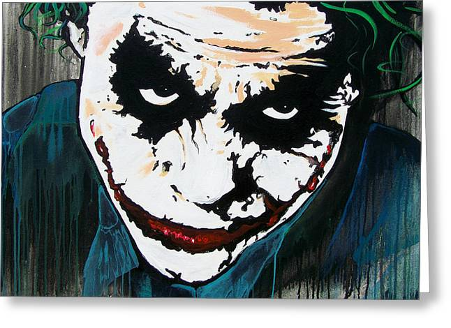 Ledger; Book Paintings Greeting Cards - Why So Serious Greeting Card by Jack Irons