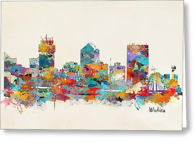Wichita Greeting Cards - Wichita Kansas skyline Greeting Card by Bri Buckley