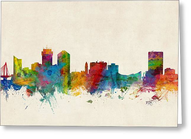 Kansas City Digital Art Greeting Cards - Wichita Kansas Skyline Greeting Card by Michael Tompsett