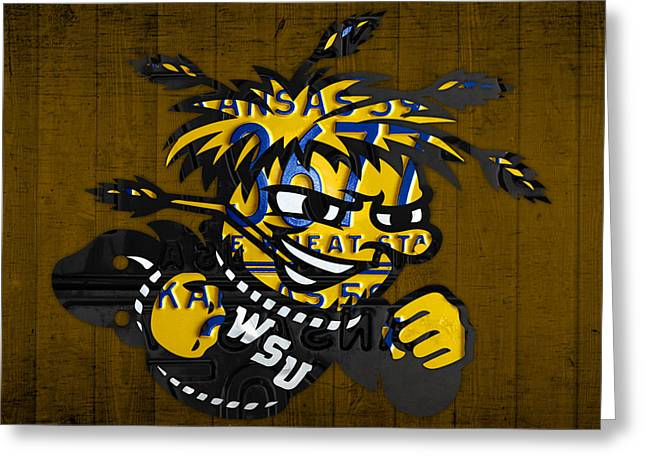Wichita Greeting Cards - Wichita State Shockers College Sports Team Retro Vintage Recycled Kansas License Plate Art Greeting Card by Design Turnpike