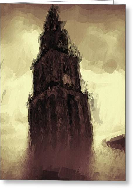Haunted Digital Art Greeting Cards - Wicked Tower Greeting Card by Ayse Deniz