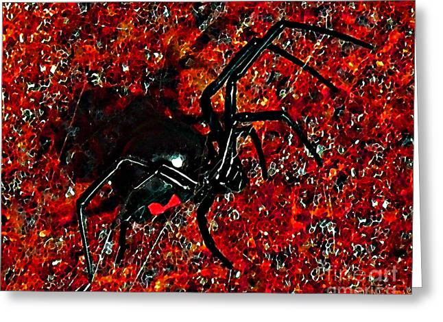 Creepy Digital Art Greeting Cards - Wicked Widow - Rouge Greeting Card by Al Powell Photography USA