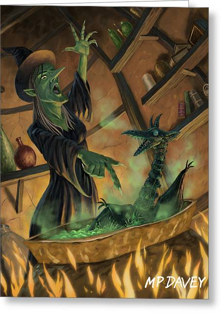 Black Magic Greeting Cards - Wicked Witch Casting Spell Greeting Card by Martin Davey